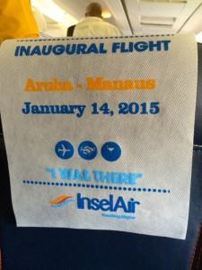 cadeira do aviao da insel air do voo inaugural
